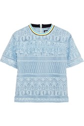 House Of Holland Heart Guipure Lace Top Blue