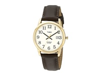 Timex Classic Ezread Analog Gold Case Brown Leather Strap Watch Gold Watches