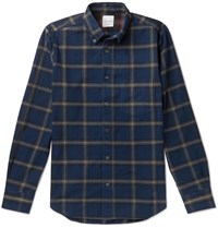 Paul Smith Button Down Collar Checked Cotton Flannel Shirt Blue