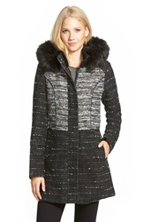 Catherine Malandrino Two Tone Tweed Coat With Faux Fur Black White