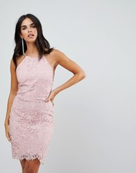 Adelyn Rae Louise Fishtail Sheath Lace Dress Pink Sand