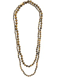 Rosantica Long Beaded Necklace Brown
