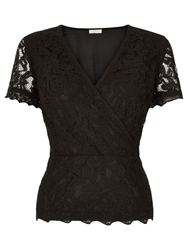 Planet Lace Crossover Top Black