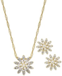 Charter Club Gold Tone Pave And Imitation Pearl Flower Necklace And Stud Earrings Set Only At Macy's