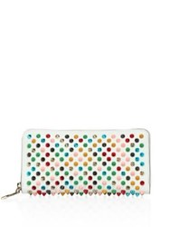 Christian Louboutin Panettone Multicolor Spiked Leather Zip Around Wallet White Multi