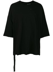 Unravel Project Distressed Boxy T Shirt Black