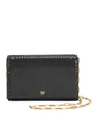 Tom Ford Python Flap Wallet On A Chain Black
