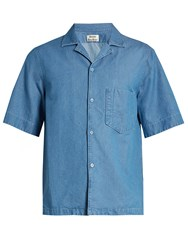 Acne Studios Elm Short Sleeved Denim Shirt Light Blue