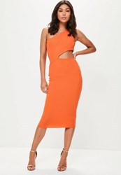 Missguided Orange One Shoulder Cut Out Waist Midi Dress
