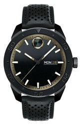 Movado Men's Bold Metals Sport Leather Strap Watch 43Mm Black