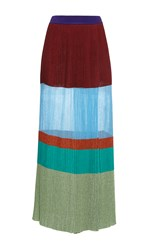 Missoni High Waisted Colorblock Stripe Maxi Skirt Red Blue Green