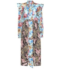 Balenciaga Pleated Floral Printed Silk Dress Multicoloured