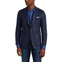 Kiton Houndstooth Cashmere Silk Two Button Sportcoat Navy