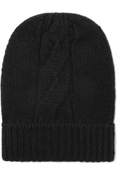 Majestic Filatures Cable Knit Wool And Cashmere Blend Beanie Black