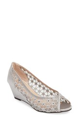 Pink Paradox London Women's Brianna Crystal Embellished Lace Wedge Silver