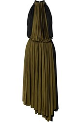 Proenza Schouler Two Tone Faux Leather Trimmed Pleated Jersey Wrap Dress Black