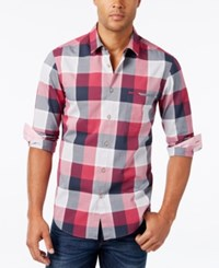 Hugo Boss Green Men's C Bansi Plaid Long Sleeve Shirt Dark Pink