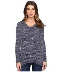 Mod O Doc Space Dyed Slub Sweater Seamed V Neck Pullover True Navy Women's Clothing