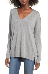 Leith Women's V Neck Sweater Grey Cloudy Heather
