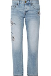 Current Elliott The Crossover Embroidered Mid Rise Straight Leg Jeans Mid Denim