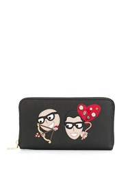 Dolce And Gabbana Zip Around Wallet With Designers' Patches Black