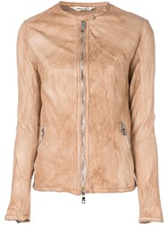 Giorgio Brato Zipped Fitted Jacket Nude And Neutrals