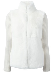 Eleventy Rabbit Fur Panel Cardigan White