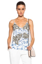 Stella Mccartney Sleeveless Printed Tank Top In Blue Animal Print White Abstract