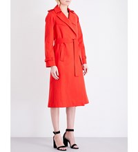 Maje Goldie Cotton Gabardine Trench Coat Rouge