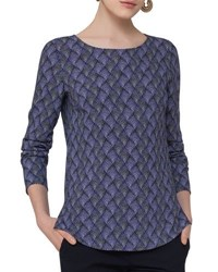 Akris Punto Alice Geometric Print Top Blue Pattern