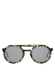 Thierry Lasry Gravity Round Frame Sunglasses Green Multi