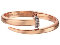 Vince Camuto Flat Nail Head Hinged Cuff Bracelet Burnt Rose Gold Crystal Bracelet
