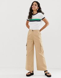 Monki Wide Leg Utility Trousers With Oversized Pockets In Beige