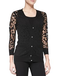 Magaschoni Button Down Leopard Burnout Cardigan Black Noir