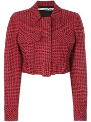 Alexander Wang Belted Cropped Jacket Red