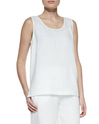 Go Silk Linen Scoop Neck Tank Petite