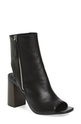 Women's Topshop 'Home' Peep Toe Boot Black Leather