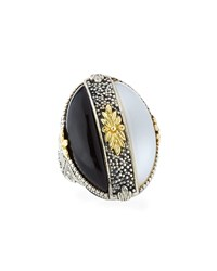 Konstantino Thetis Two Tone Agate Oval Ring White Black
