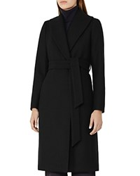 Reiss Cody Belted Long Coat Black