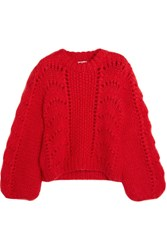 Ganni Julliard Mohair And Wool Blend Sweater Red