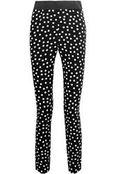 Dolce And Gabbana Polka Dot Crepe Leggings Black