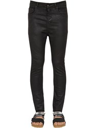 Rick Owens Slim Waxed Cotton Denim Jeans Black