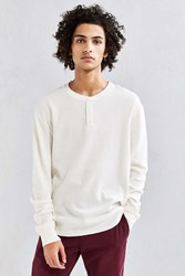 Urban Outfitters Uo Nelson Waffle Henley Long Sleeve Tee Beige