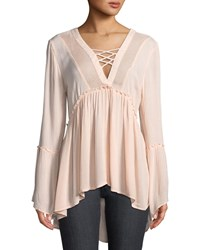 Dex Lace Up Front Crochet Detail Peasant Top Pink