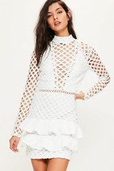 Missguided White Lace Long Sleeve Ruffle Detail Dress