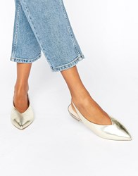 Asos Lychee Slingback Pointed Ballet Flats Gold