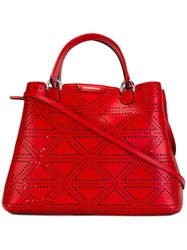 Emporio Armani Perforated Tote Red