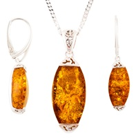 Be Jewelled Rhodium Plated Sterling Silver Amber Pendant Necklace And Earrings Gift Set Amber
