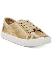 Bebe Sport Dane Lace Up Sneakers Gold Faux