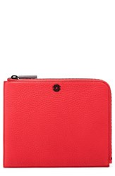Dagne Dover Large Elle Leather Clutch Red Poppy